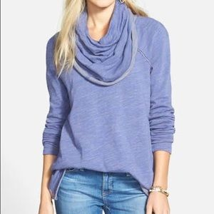 Free People Beach Cocoon Cowl Neck Cosmic Blue